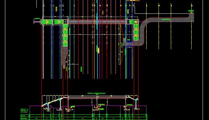 Pedestrian Bridge Layout Plan and Vertical profile CAD Template DWG