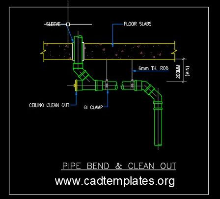 Pipe Bend and Clean Out Detail CAD Template DWG