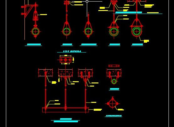 Pipe Hangers Sections Details CAD Template DWG