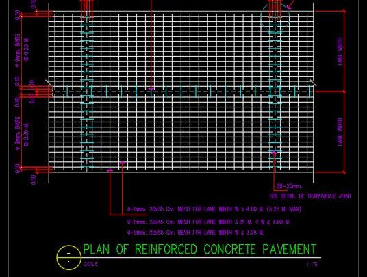 Plan of Reinforced Concrete Pavement CAD Template DWG