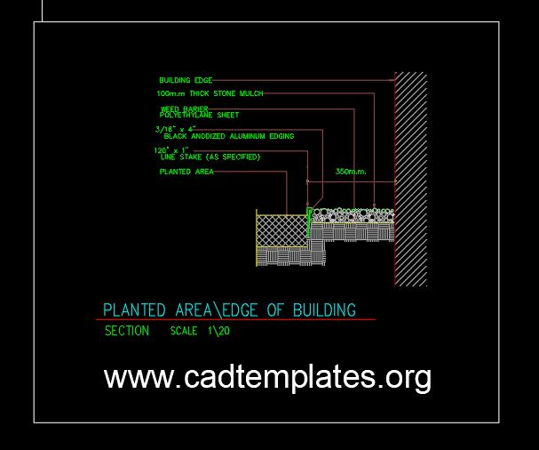 Planted Area Edge of Building Detail CAD Template DWG