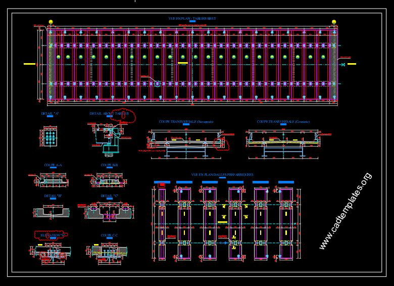 Prefabricated Bridge Deck Plan and Cross Section Details CAD Template DWG