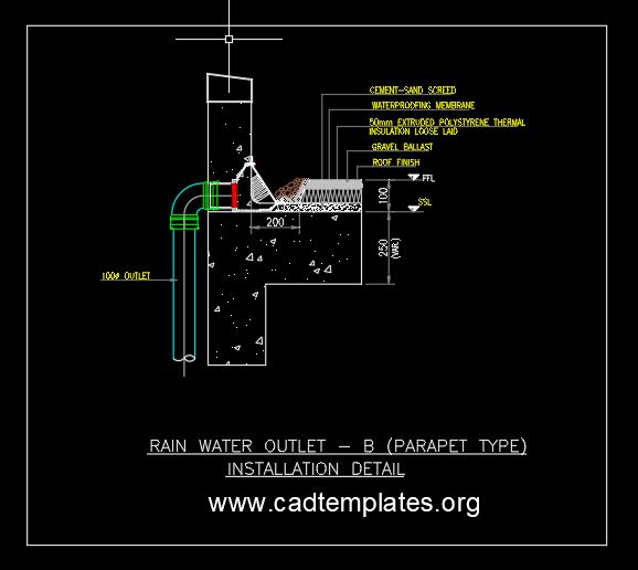 Rain Water Outlet Parapet Type Installation Detail CAD Template DWG