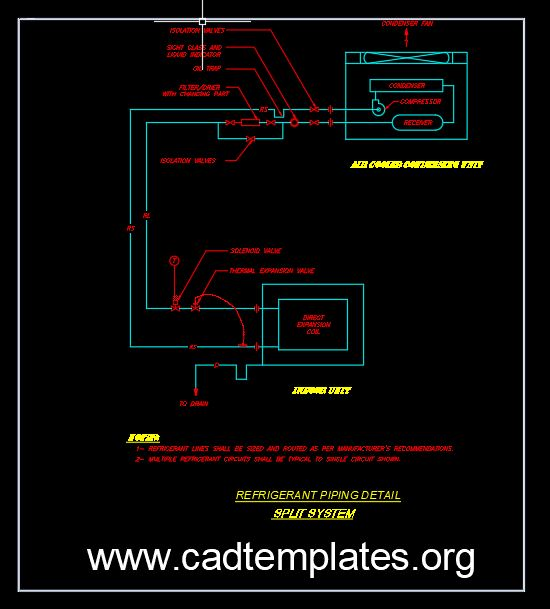 Refrigerant Piping Detail Split System CAD Template DWG