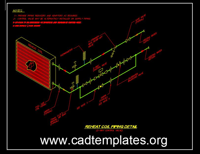 Reheat Coil Piping Detail CAD Template DWG