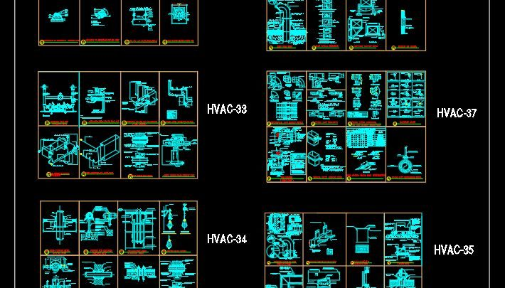 Residential Tower HVAC Installation Details Autocad Template DWG