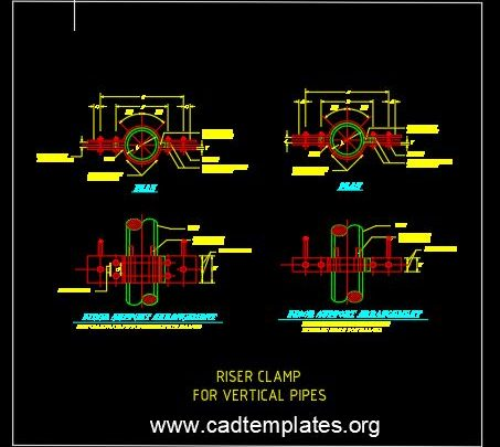 Riser Clamp For Vertical Pipes CAD Template DWG