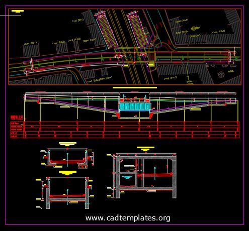 Road and Pedestrian Underpass Plan Profile and Cross Section CAD Template DWG
