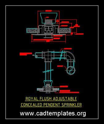 Royal Flush Adjustable Concealed Pendant Sprinkler Detail CAD Template DWG