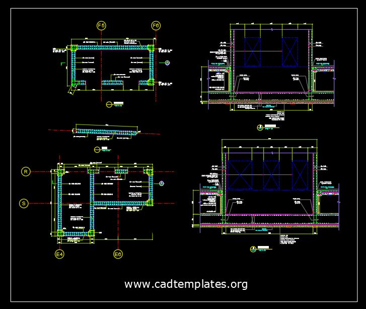 Shear Wall Reinforced Concrete Details CAD Template DWG