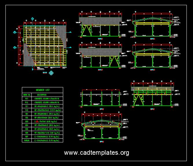 Shelter Steel Structure Plan and Elevations Details CAD Template DWG