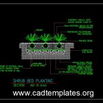 Shrub Bed Planting Details CAD Template DWG