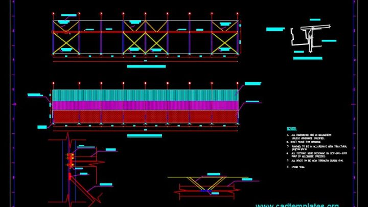 Side Walls Elevation and Bracing Details CAD Template DWG