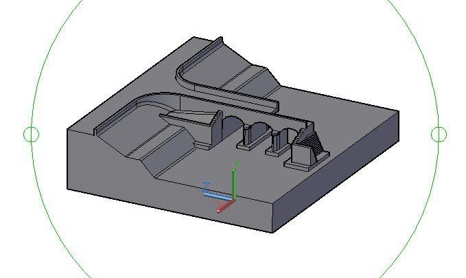 Small Bridge 3D Model CAD Template DWG