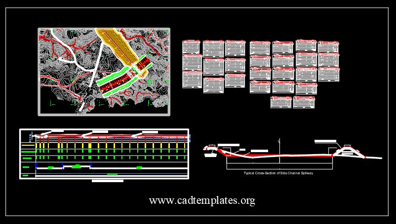Spillway Plan Channel Profile and Cross Sections CAD Template DWG