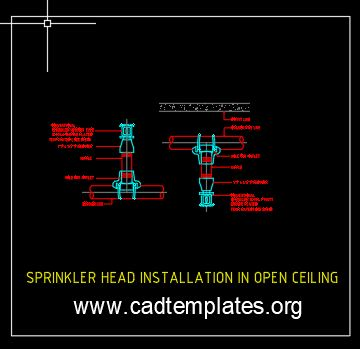 Sprinkler Head Installation In Open Ceiling Detail CAD Template DWG