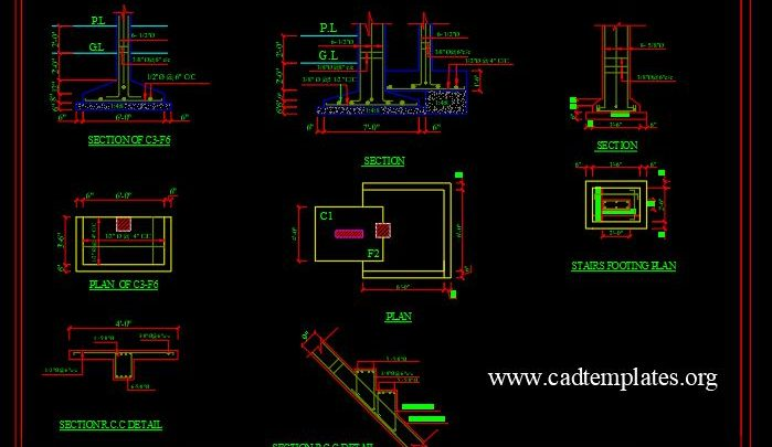 Stairs Footing Plan and Sections Details CAD Template DWG