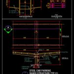 Steel Car Parking Shade Structure Details CAD Template DWG