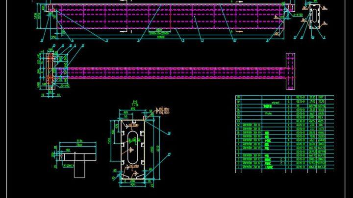 Steel Girder Section Details CAD Template DWG