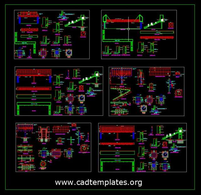 Steel Pedestrian Bridge With Foundation Details CAD Templates DWG