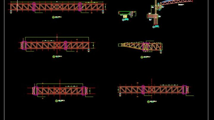 Steel Truss With Corbel Details CAD Template DWG