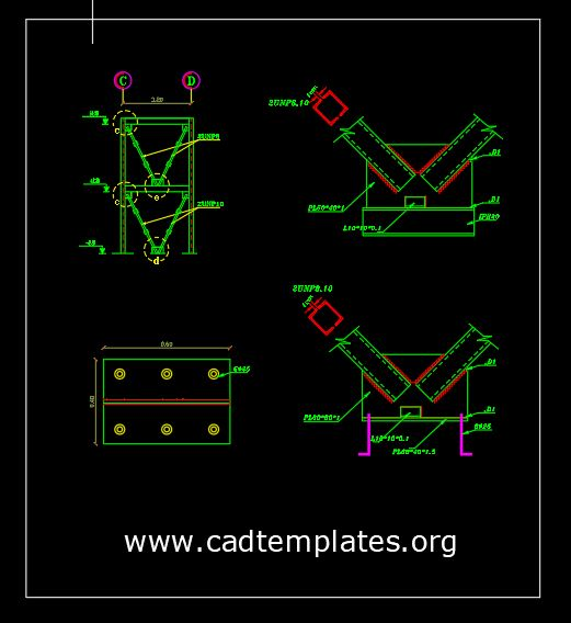 Steel V Bracing Element Details CAD Template DWG