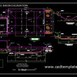 Stiling Basin Excavation Sections and Layout Plan CAD Template DWG