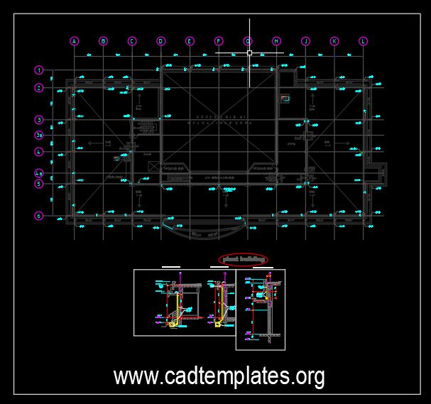 Storm Drainage Piping Layout and Elevation Details CAD Template DWG