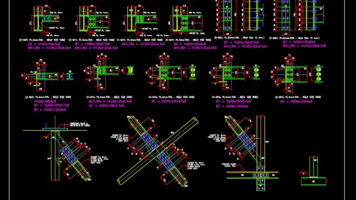 Structural Steel Connections Details Autocad Drawing