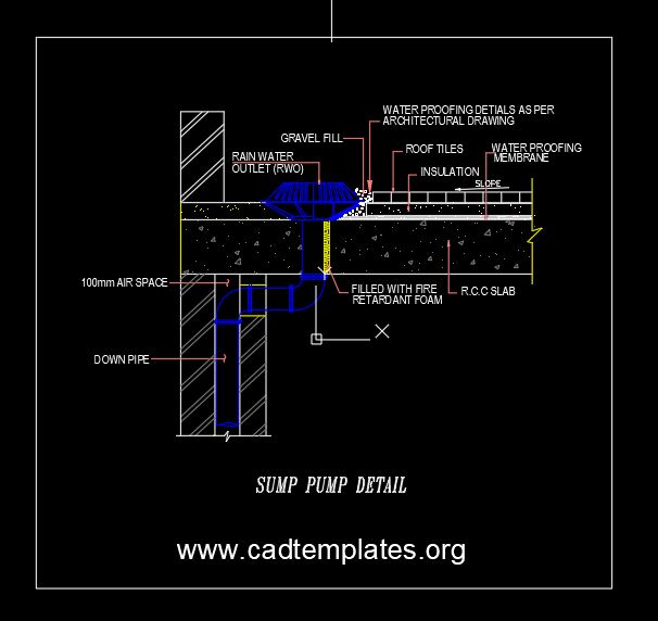 Sump Pump Section Detail Autocad Drawing
