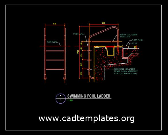 Swimming Pool Ladder Details CAD Template DWG