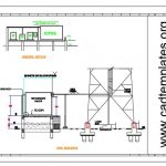Telecom Tower Shelter Section and Site Elevation Plan CAD Template DWG