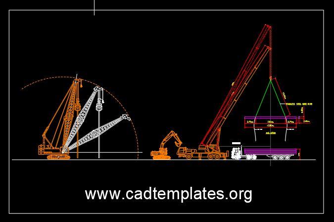 Telescopic Truck Crane Lifting CAD Template DWG