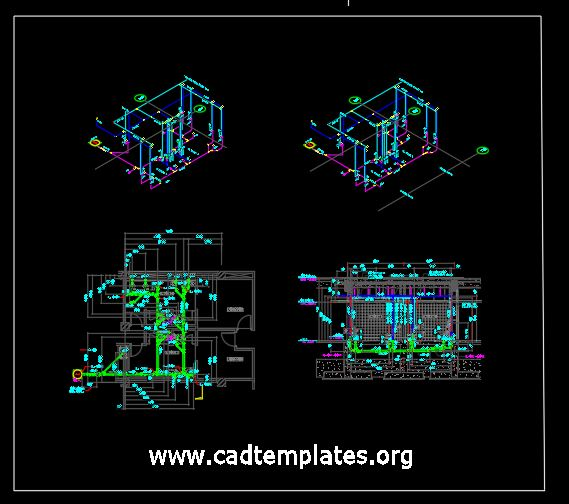 Toilet Sewer and Water Line Layout CAD Template DWG