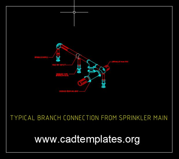 Typical Branch Connection From Sprinkler Main Detail CAD Template DWG