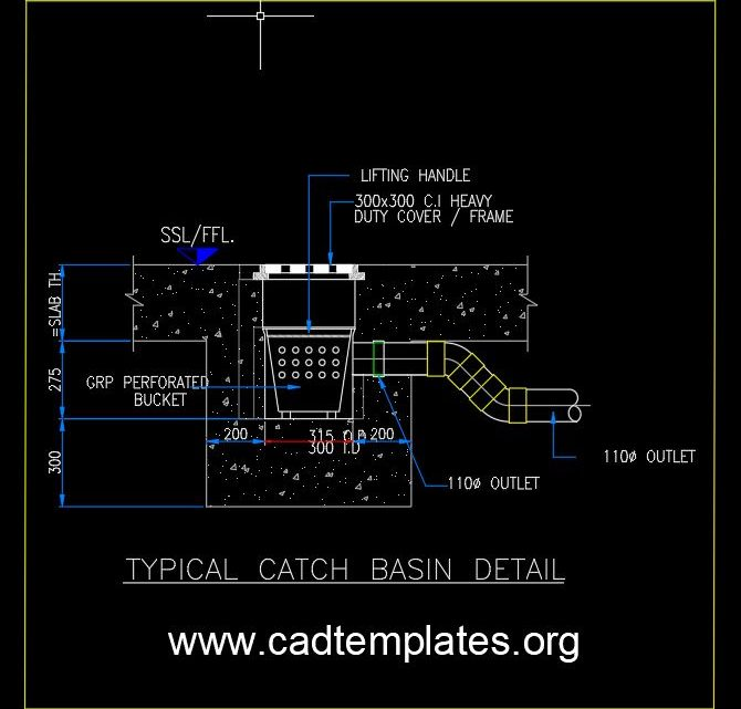 Typical Catch Basin Detail CAD Template DWG