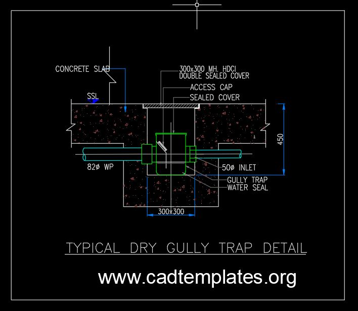 Typical Dry Gully Trap Details CAD Template DWG