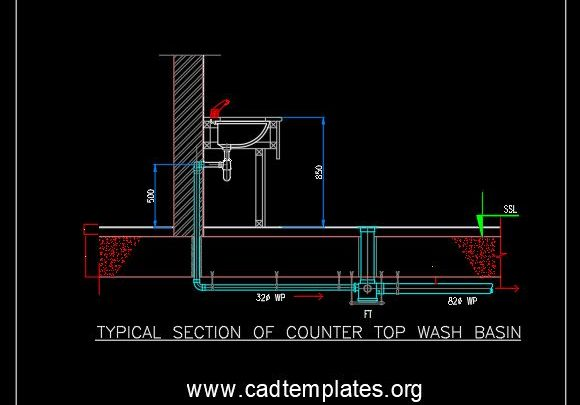 Typical Section of Counter Top Wash Basin CAD Template DWG