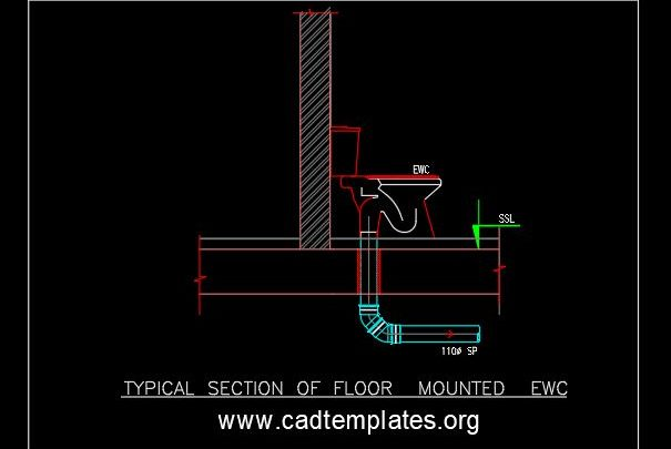 Typical Section of Floor Mounted EWC CAD Template DWG