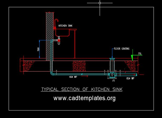 Typical Section of Kitchen Sink Detail CAD Template DWG