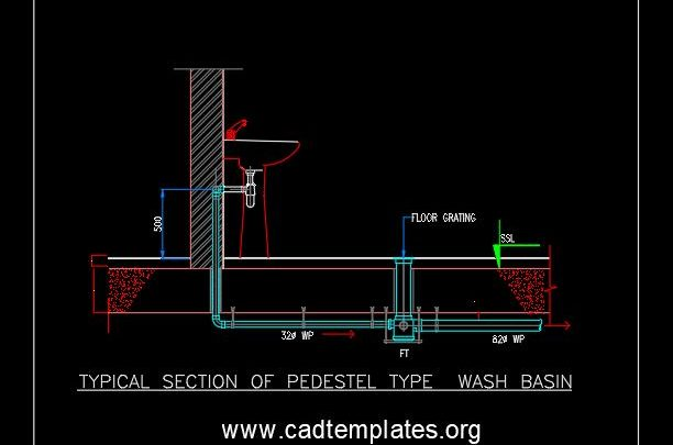 Typical Section of Pedestel Type Wash Basin CAD Template DWG