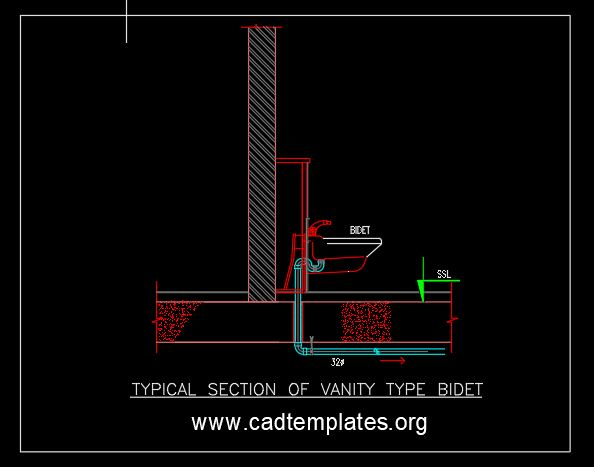 Typical Section of Vanity Type Bidet CAD Template DWG