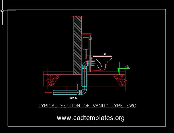 Typical Section of Vanity Type EWC CAD Template DWG
