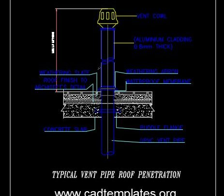 Typical Vent Pipe Roof Penetration Detail CAD Template DWG