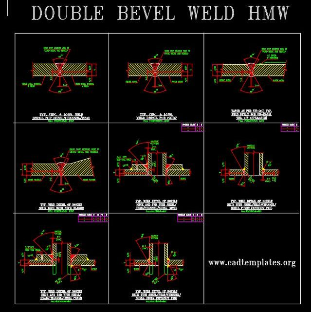 Typical Welding Details Double Bevel HMW CAD Template DWG