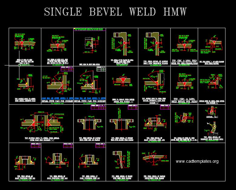 Typical Welding Details Single Bevel for HMW CAD Template DWG