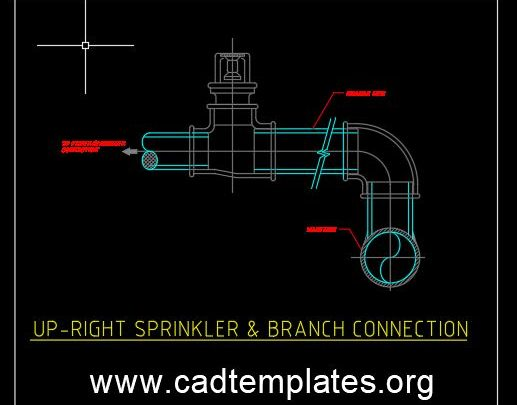 Up-Right Sprinkler and Branch Connection Detail CAD Template DWG