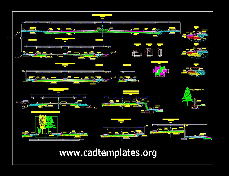 Urban Park Cross Sections Details CAD Template DWG
