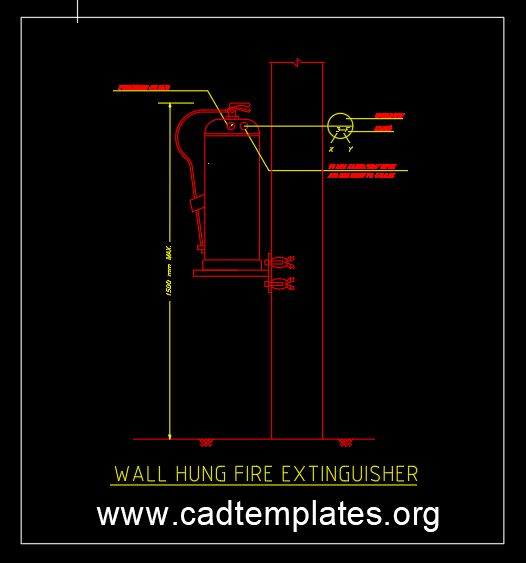 Wall Hung Fire Extinguisher Detail CAD Template DWG