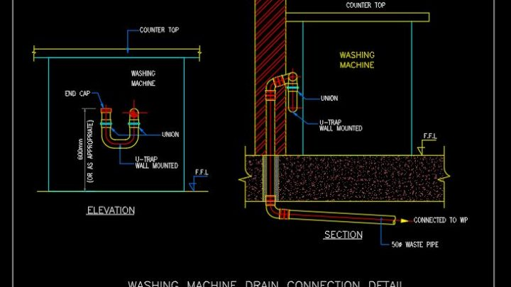 Washing Machine Drain Connection Detail CAD Template DWG